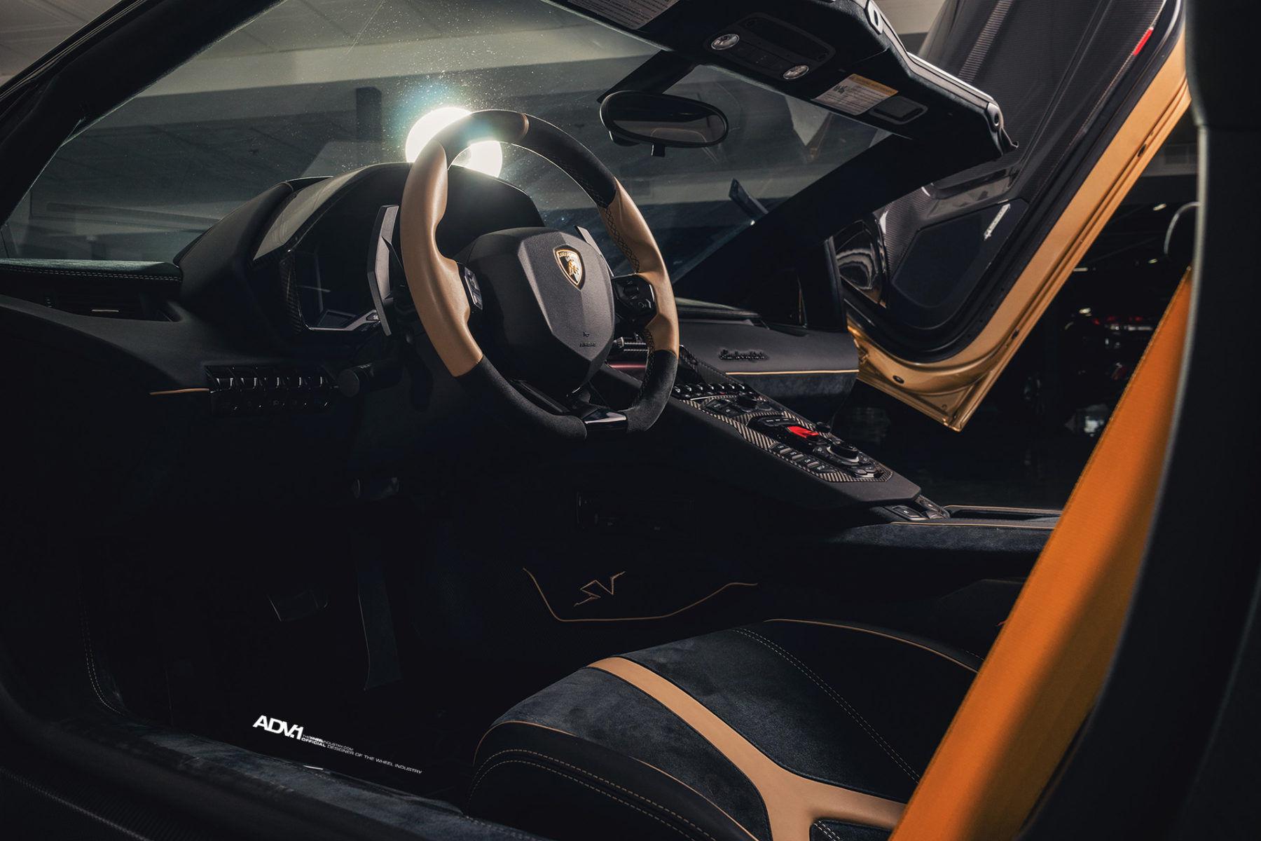 Lamborghini Aventador   Gold Lamborghini Aventador SV Roadster LP750-4 - ADV1 ADV5.3 Track Spec CS Series Centerlock