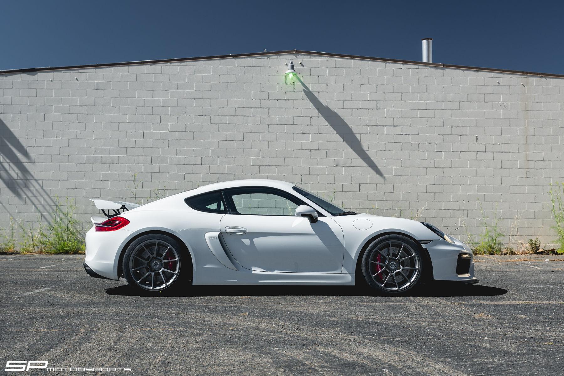 Porsche Cayman | White Porsche Cayman GT4 by SP Motorsports on Forgeline One Piece Forged Monoblock GS1R Wheels