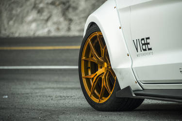 "2015 Ford Mustang | Widebody Mustang EcoBoost on 20"" Rohana Gold RFX5 Wheels - Wheel Fitment"