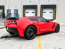Red C7 Corvette Z06 on Forgeline One Piece Forged Monoblock VX1R Wheels from CW4L