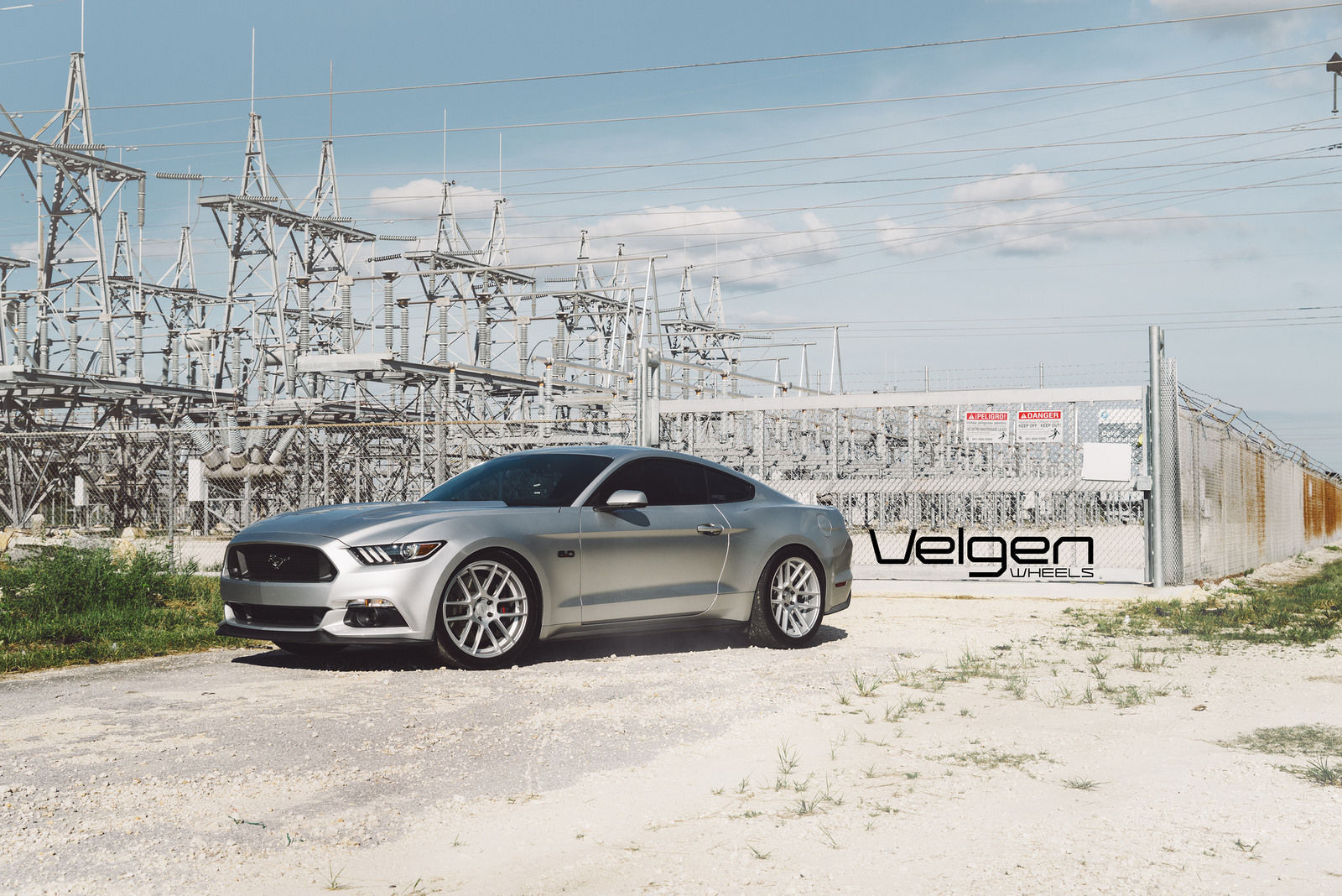 2015 Ford Mustang | 2015 Ingot Silver Mustang GT on Velgen Wheels VMB6 - Side Angled Shot