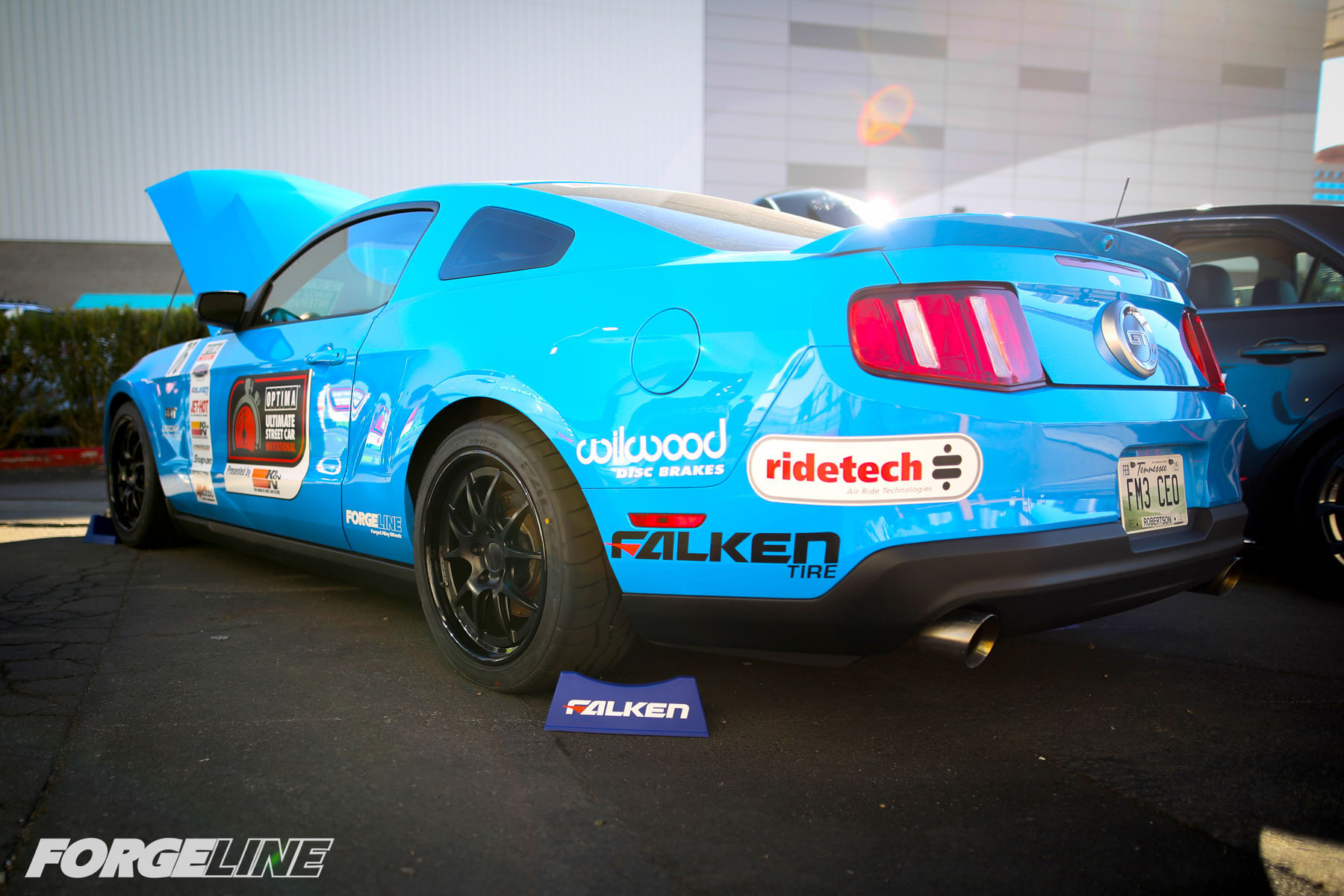 2010 Ford Mustang | Saroja Raman's Grabber Blue S197 Mustang GT on Forgeline GA3 Wheels - Rear Drive Side Shot