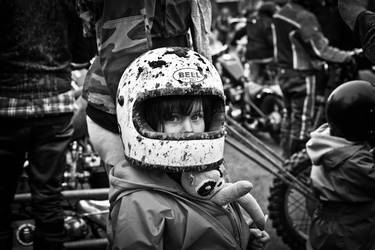 Wearing Daddy's Helmet