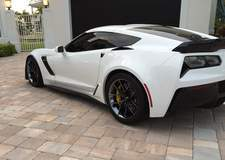 White C7 Corvette Z06 on Forgeline One Piece Forged Monoblock VX1 Wheels in Black Chrome PVD - Drive Side Angled Shot