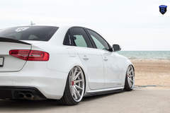 White Audi A4 - Side Stance