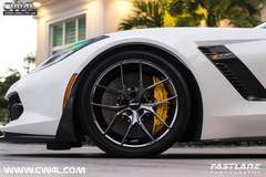 White C7 Corvette Z06 on Forgeline One Piece Forged Monoblock VX1 Wheels in Black Chrome PVD