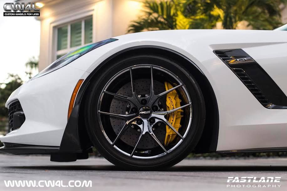 2015 Chevrolet Corvette Z06 | White C7 Corvette Z06 on Forgeline One Piece Forged Monoblock VX1 Wheels in Black Chrome PVD