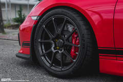 Steve's Guards Red Porsche Cayman GT4 on Forgeline One Piece Forged Monoblock GA1R Open Lug Cap Edition Wheels