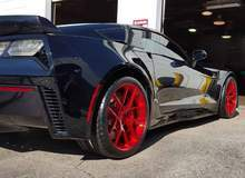C7 Corvette Z06 on Transparent Red Forgeline One Piece Forged Monoblock VX1 Wheels