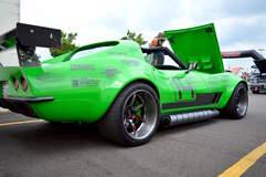 """Bob Bertelsen's """"Green Mamba"""" 1968 Corvette on Forgeline CV3C Concave Wheels - Rear Shot"""