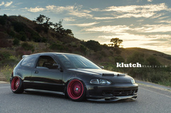 '94 Honda Civic Si on Custom Red Klutch SL-1's