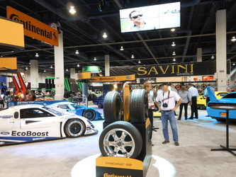 The Ford EcoBoost IMSA race car was front and center at the Continental Tire booth at SEMA in 2013.