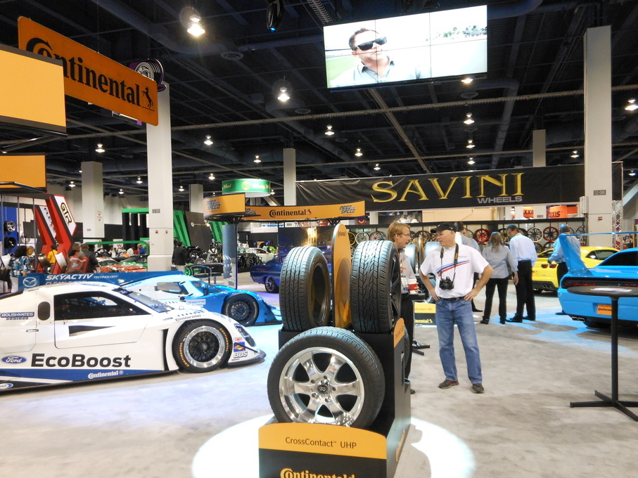 | The Ford EcoBoost IMSA race car was front and center at the Continental Tire booth at SEMA in 2013.