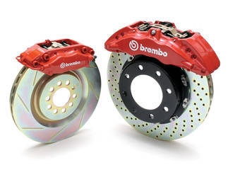"Brembo 6-piston monoblock brakes and15"" rotors"