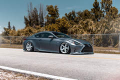 Bagged Lexus RC350 F-Sport on Classic5 Matte Silver