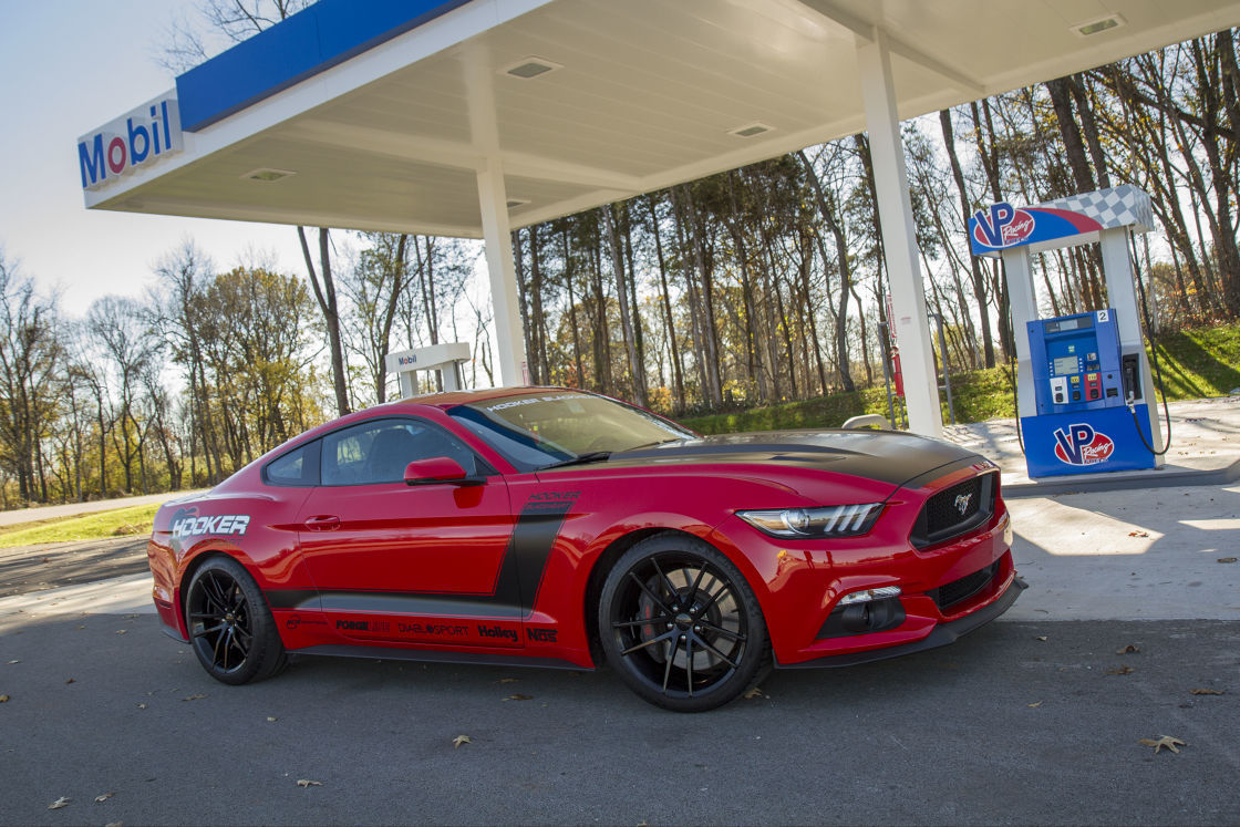 2016 Ford Mustang | The Holley Performance Hooker Headers BlackHeart S550 Ford Mustang GT on Forgeline One Piece Forged Monoblock AR1 Wheels