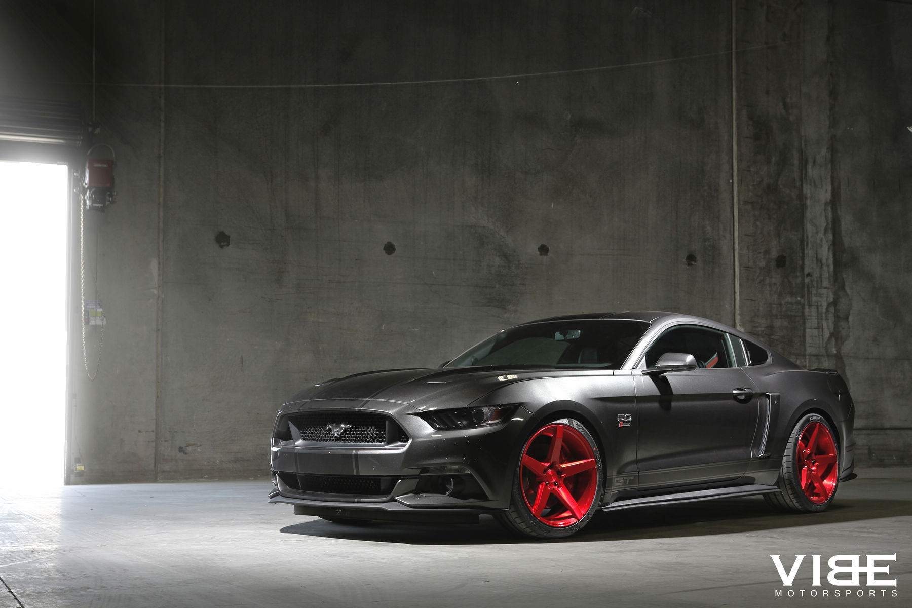 2016 Mustang Gt On 20 Savini Bm11 Brushed Red Wheels Side Body Shot