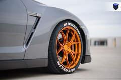 Gray Nissan GTR - Front Gold Wheel