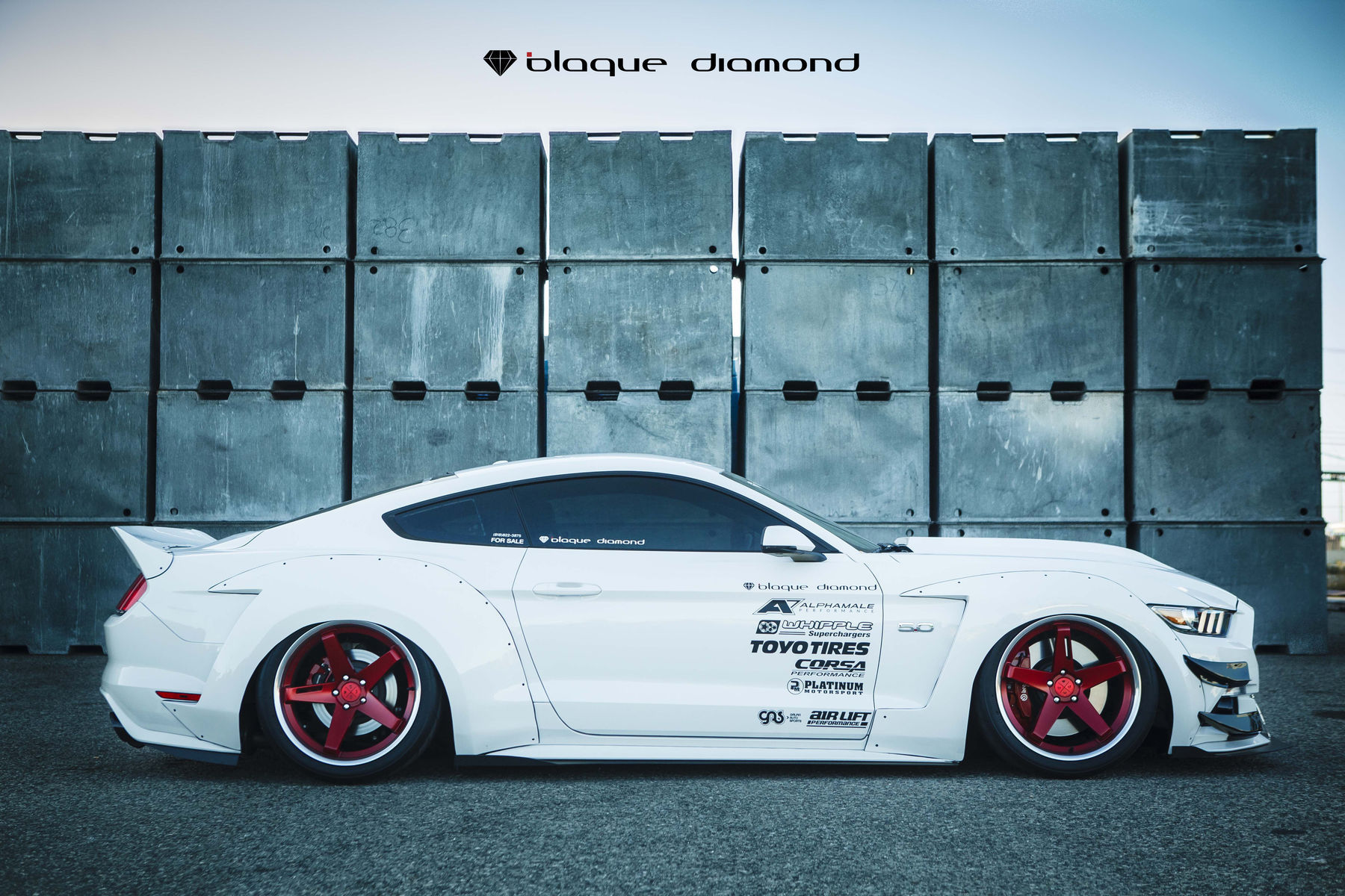 | 2015 Ford Mustang GT Fitted With 20 Inch BD-21's in Brushed Red Anodized With Chrome SS Lip
