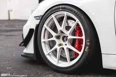 SP Motorsports Porsche Cayman GT4 Race Build on Forgeline One Piece Forged Monoblock GA1R Open Lug Wheels