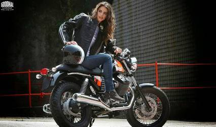 Naked bike, clothed woman, beauty and class!
