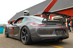 Track-prepped Porsche Cayman S by DeMan Motorsport on Forgeline CF1R Open Lug Wheels