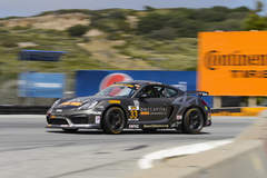 CJ Wilson Racing #33 Porsche Cayman on Forgeline One PIece Forged Monoblock GS1R Wheels Second at Laguna Seca