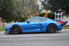 Jacy Legault's Porsche Cayman GT4 on Forgeline One Piece Forged Monoblock GA1R Open Lug Wheels