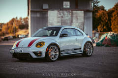 H&R's VW Beetle R-Line on Forgeline One Piece Forged Monoblock GT1 5-Lug Wheels