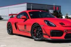 Steve's SP Motorsports Guards Red Porsche Cayman GT4 on Forgeline One Piece Forged Monoblock GA1R Open Lug Wheels