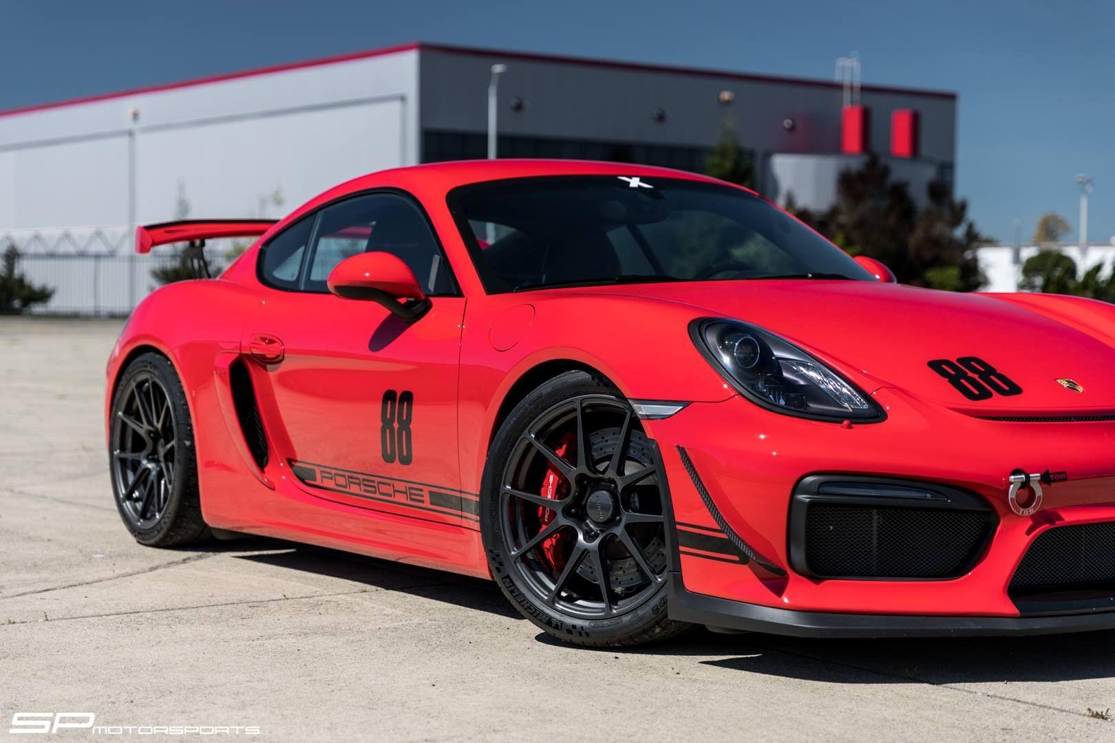 2016 Porsche Cayman   Steve's SP Motorsports Guards Red Porsche Cayman GT4 on Forgeline One Piece Forged Monoblock GA1R Open Lug Wheels