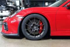 BBi Autosport Carmine Red Porsche 981 Cayman GT4 on Forgeline One Piece Forged Monoblock GS1R Wheels