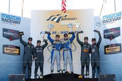 Forgeline-equipped Porsche Caymans sweep the IMSA Continental Tire Sports Car Challenge GS class podium, at Mazda Raceway Laguna Seca