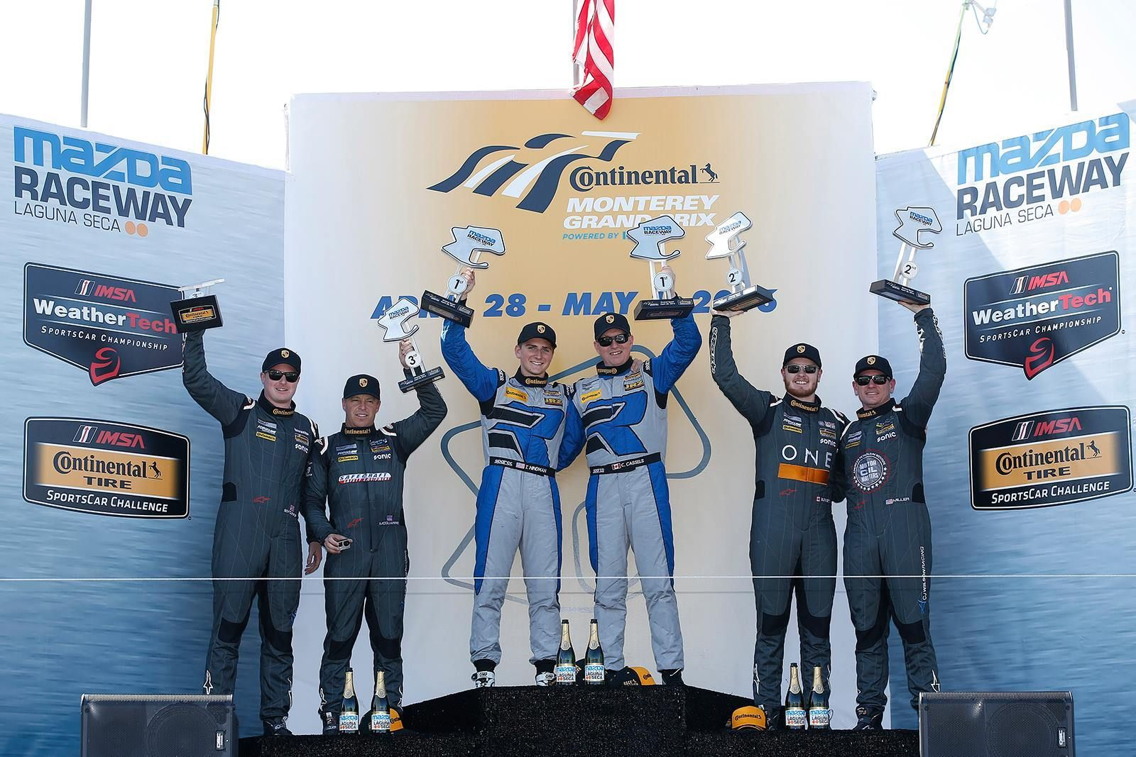 2016 Porsche Cayman | Forgeline-equipped Porsche Caymans sweep the IMSA Continental Tire Sports Car Challenge GS class podium, at Mazda Raceway Laguna Seca